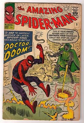 MARVEL Comics SPIDERMAN Amazing Silver age #5 1963 VGF 4.5 1st  APP DR DOOM