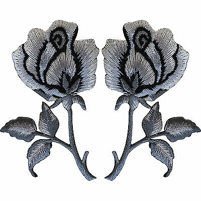 Pair of Rose Flowers Embroidered Iron Sew On Patch Badge Silver Grey Black Roses
