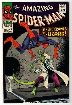 MARVEL Comics MID GRADE VFN - SPIDERMAN  #44 1966 LIZARD MAN  APP AMAZING