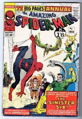 MARVEL Comics Spiderman 6.5 size Annual  #1 19765 AMAZING 1st SINISTER 6 SIX FN
