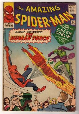 MARVEL Comics SPIDERMAN SILVER age #17 VG 1st GREEN GOBLIN AMAZING