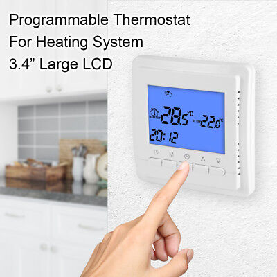 Large LCD Smart Programmable Thermostat Floor Heating Temperature Control BI635