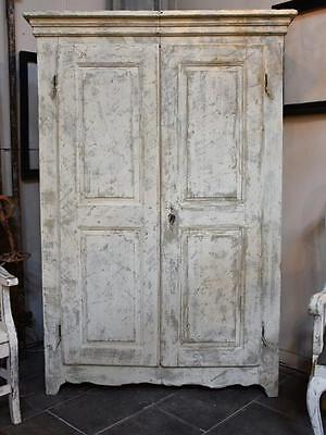 Antique French country armoire - 18th century with grey patina