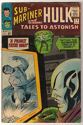 Marvel TALES TO ASTONISH 72  HULK SUB MARINER AVENGERS VG-