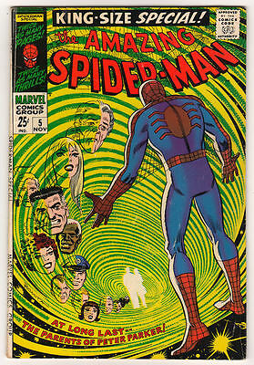 MARVEL Comics SPIDERMAN SILVER age #5 1968  AMAZING KING SIZE