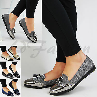New Womens Loafers Brogue Ballet Metallic Glitter Tassel Pumps Casual Flat Shoes