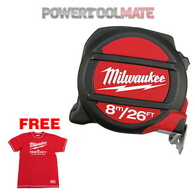 Milwaukee 48225225 8m/26ft Two-Sided Magnetic Tape Measure + Free Large T-Shirt