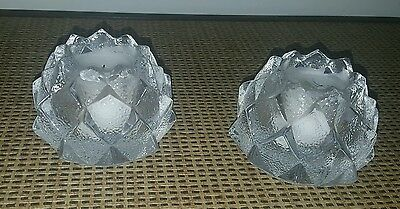 ORREFORS Signed Crystal Diamond Cut Candlestick Holders Sweden matching pair