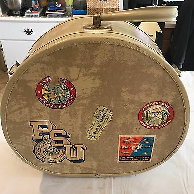 Vintage Round Samsonite Luggage Hat Box with Stickers PSU