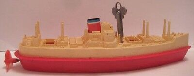 "Old Plastic Wind Up Toy Boat 7 1/4"" Freighter Lehmann Ship Germany 1950s Nice!"