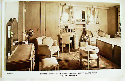 1937 Vintage Postcard- Cunard White Star RMS Queen Mary - Cabin Bedroom