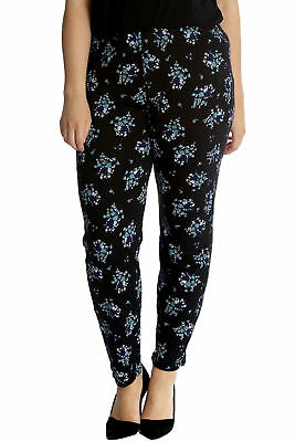 New Womens Trousers Plus Size Ladies Leggings Floral Print Elasticated Nouvelle