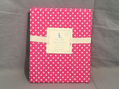 Pottery Barn Kids Bright Pink Mini Dot Organic Toddler Duvet Cover+Sheet Set