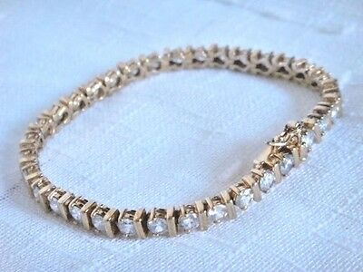 "GOLD STERLING SILVER TENNIS BRACELET 7.25"" 5.25mm 925"