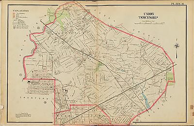 1906 E. ROBINSON, UNION TOWNSHIP, NEW JERSEY, ROSELLE PARK, COPY ATLAS MAP 24x36