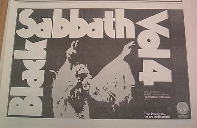 BLACK SABBATH Vol 4 : Tomorrow's Dream 1972  UK Press ADVERT 12x8 inches