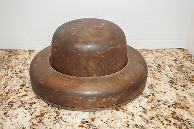 ANTIQUE Wood Mens Vtg Wooden Hat & Brim Block Form Millinery Mold