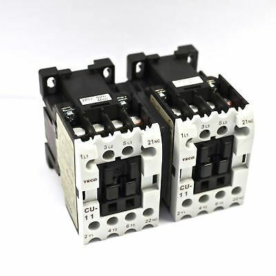 TECO CU-11 magnetic contactor PAIRED with Mechanical Interlock, 220V coil, N/C