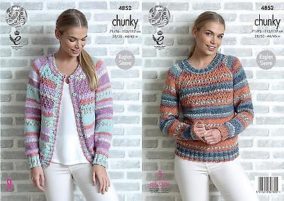 f5483b35559a King Cole 4852 Knitting Pattern Womens Cardigan and Sweater in Drifter  Chunky