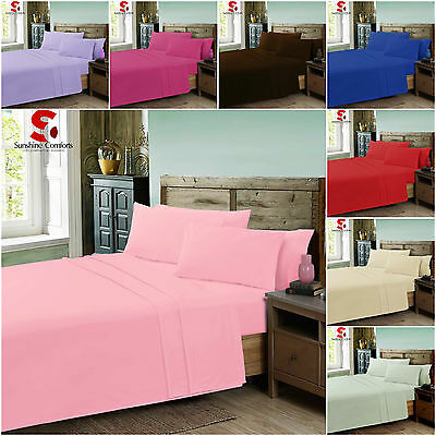 Polycotton Flat Bed Sheets in plain Dyed Colours Single, Double, King, S.King