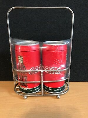 Coca Cola Aluminum Salt & Pepper Shakers in Chrome Caddie ~ New/still Wrapped