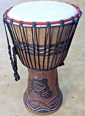 "Hand Carved 10"" Rope Tuned Djembe"
