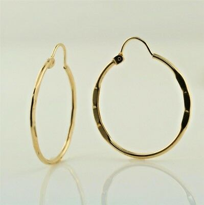 10K Solid  Yellow Gold Textured Hoop Earrings 27mm. Fine jewelry collection.