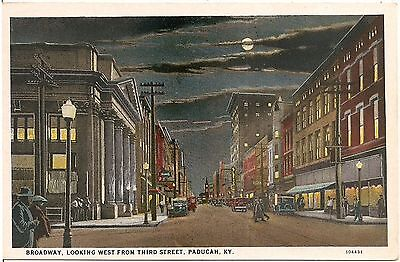 Broadway Looking West From Third Street in Paducah KY Postcard