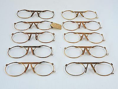 Excellent vintage gold plated spring loaded pinz nez glasses  10 pairs available