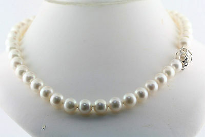 """Big 16mm White Freshwater Pearl Necklace 925 Sterling Silver Cage Clasp 17"""""""