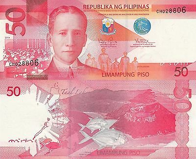 Philippines 50 Piso (2014) - Calderas/Fish/p207-New UNC