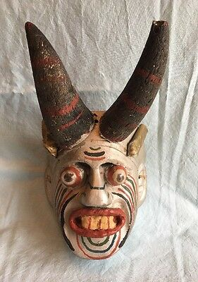 Vintage Authentic Hand Crafted Wooden Mask Horns Ears Bulging Eyes Artist Signed