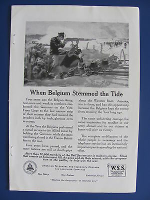 1918 American Telephone & Telegraph Co. Bell System Ad When Belgium Stemmed Tide