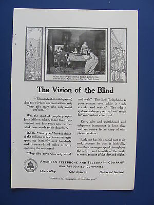 1916 American Telephone & Telegraph Co. Vision Of The Blind Ad  Bell System