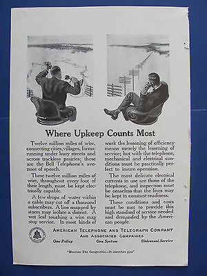 1920  American Telephone & Telegraph Co. Upkeep Counts Most Ad  Bell System