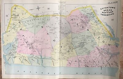 1888 EATONTOWN OCEAN & NEPTUNE TWPs LONG BRANCH NJ MONMOUTH PARK TRACK ATLAS MAP