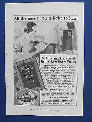 1920 Victor Talking Machine Co.  Ad  Music You Delight To Hear