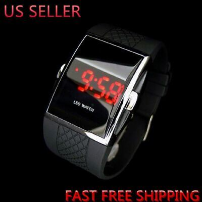 Luxury Men's Fashion LED Digital Date Sports Quartz Rubber Bracelet Wrist Watch
