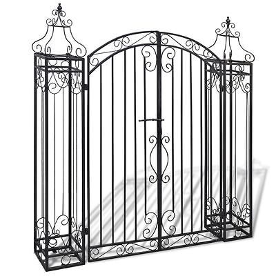 Wrought Iron Gate Set Decorative Yard Fencing Gates Feature Entrance Home Garden