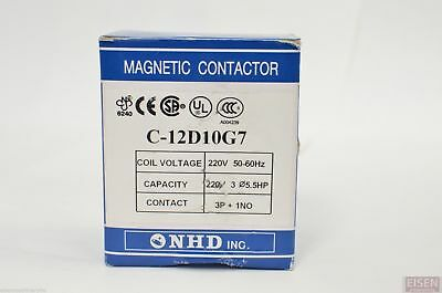 NHD C-12D10G7 Magnetic Contactor for 5.5HP Motor, 220V coil, Normally Open