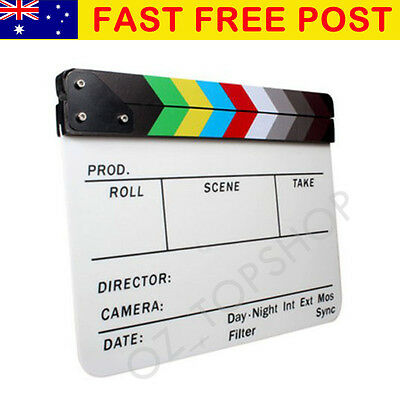 "12 x 9.5"" Acrylic Clapboard Dry Erase Director Film Movie Clapper Board Slate"
