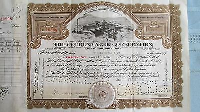 Cripple Creek Colorado Golden Cycle Corporation Mining Stock Certificate-Issued