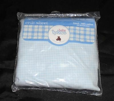 New baby tykes blue and White checkered crib fitted sheet 100% Cotton
