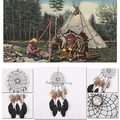 """17.72"""" Silver Net Feather Dream Catcher Bead Hanging Home Car Ornament Decor"""