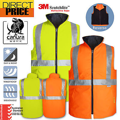 New Hi Vis Vests Warm Reversible Vest Safety Work Wear 3M Tapes Day Night Use