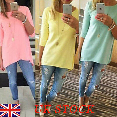 UK Womens Crew Neck Long Tops Ladies Casual 3/4 Sleeve Solid Blouse T Shirts