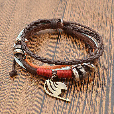 Japan Anime Fairy Tail Synthetic Leather Bracelet Multilayer Bangle Fans Cosplay