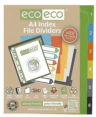 A4 File Dividers For Ring Binders 1-6 Index Extra Wide - 50% Recycled Material