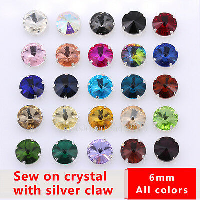 50pc 6mm Glass Round Rivoli Crystal Sew On Rhinestones Fancy Stones Gems wedding