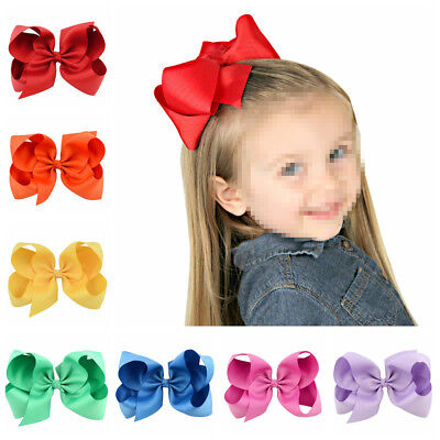 "30PCS 6"" Large Bow Hair Alligator Clips Girls Ribbon Inch Bows Kids Sweet Gifts"
